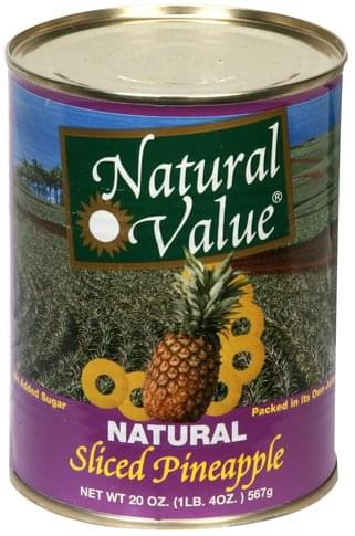 Natural Value Natural Sliced Pineapple - 20 oz