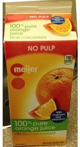 Meijer Orange Juice No Pulp