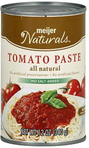 Meijer Naturals No Salt Added Tomato Paste - 12 oz