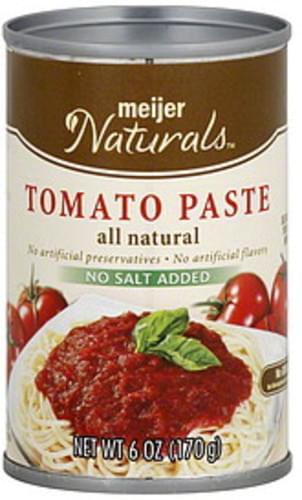 Meijer Naturals No Salt Added Tomato Paste - 6 oz
