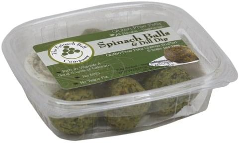 Spinach Ball Feta Cheese Stuffed, Gluten-Free Spinach Balls & Dill Dip - 6 ea
