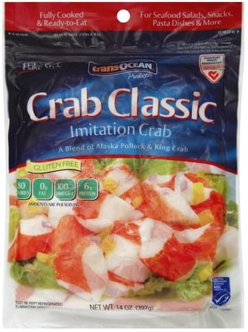 Trans Ocean Crab Classic Flake Style Imitation Crab 14 Oz Nutrition Information Innit