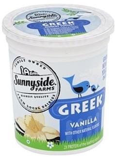 Sunnyside Farms Yogurt Greek, Nonfat, Vanilla