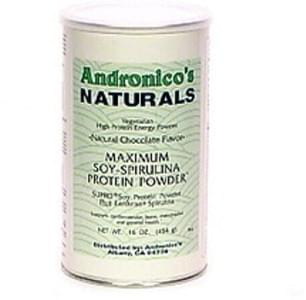 Andronicos Naturals Maximum Soy-Spirulina Protein Powder Vegetarian, Natural Chocolate Flavor
