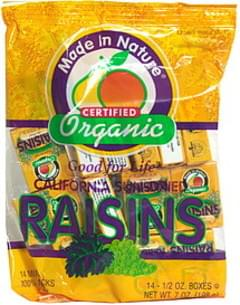 Made In Nature Organic Raisins, California Sun-Dried, Mini-Snacks