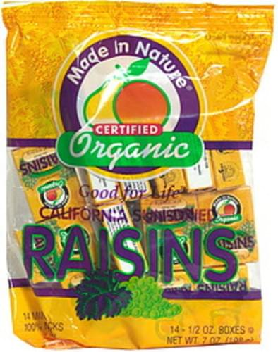 Made In Nature Organic Raisins, California Sun-Dried, Mini-Snacks - 14 ea
