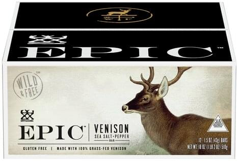 Epic Sea Salt + Pepper, Venison Meat Bars - 12 ea