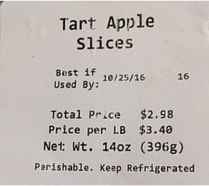 Walmart Tart Apple Slices