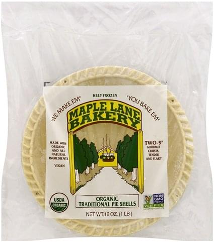 Maple Lane Bakery Organic, Traditional, 9 Inch Pie Shells - 2 ea