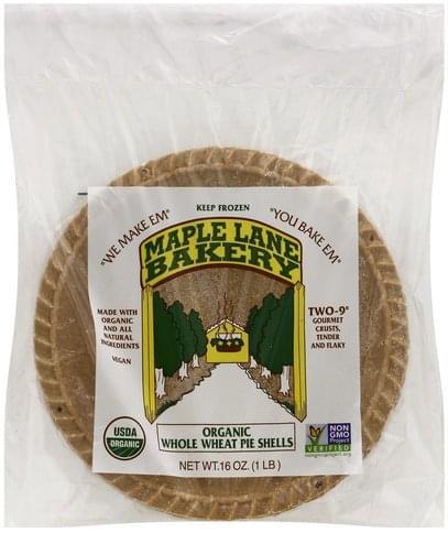 Maple Lane Bakery Organic, Whole Wheat, 9 Inch Pie Shells - 2 ea