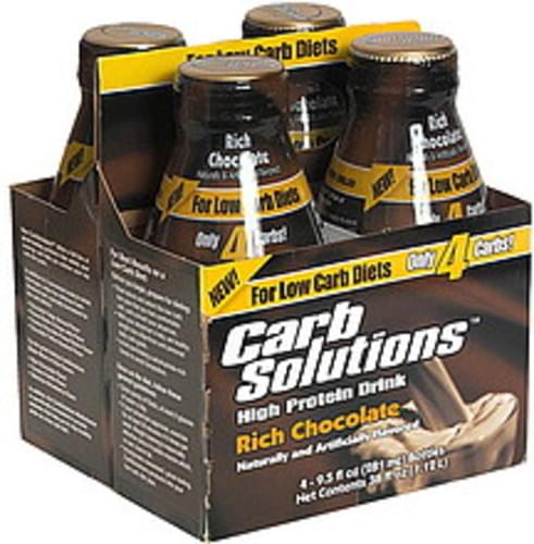 Carb Solutions High Protein Drink, Rich Chocolate - 4 ea