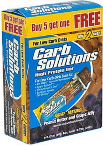 Carb Solutions High Protein Bar, Peanut Butter and Grape Jelly - 6 ea