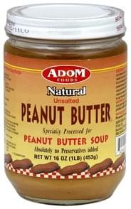 ADOM Foods Peanut Butter Natural, Unsalted