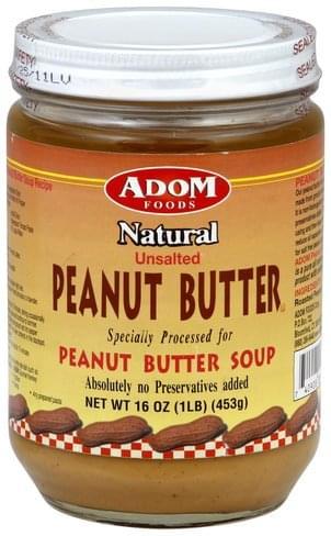ADOM Foods Natural, Unsalted Peanut Butter - 16 oz