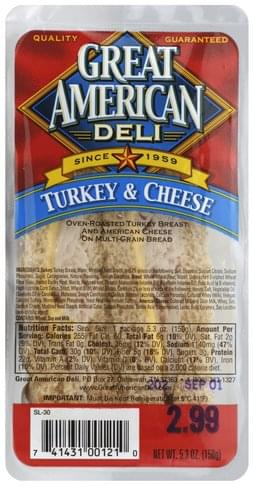 Great American Turkey & Cheese Sandwich - 5.3 oz