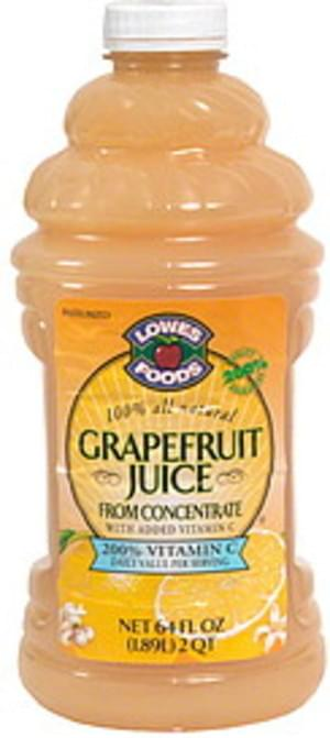 Lowes Foods Grapefruit Juice from Concentrate with Added Vitamin C - 64 oz
