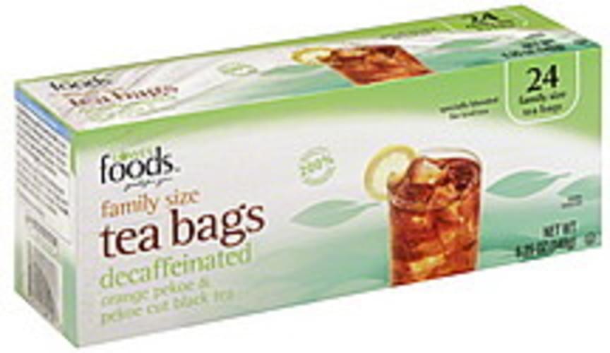 Lowes Foods Orange Pekoe & Pekoe Cut, Tea Bags, Decaffeinated, Family Size Black Tea - 24 ea