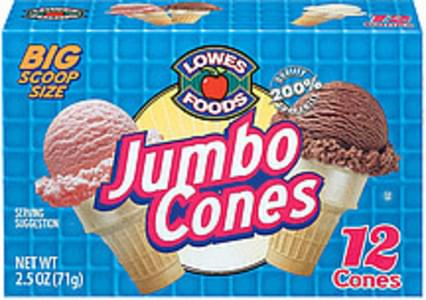 Lowes Foods Ice Cream Cones Jumbo 12 Ct