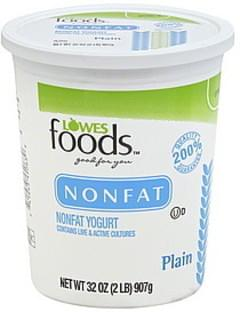 Lowes Foods Yogurt Nonfat, Plain
