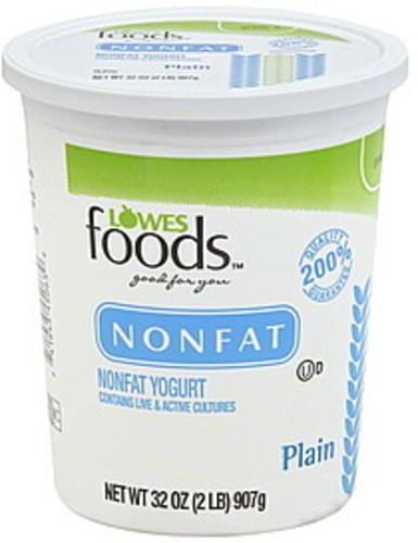 Lowes Foods Nonfat, Plain Yogurt - 32 oz