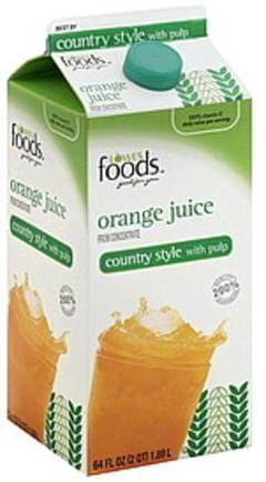 Lowes Foods Juice Orange, Country Style, with Pulp