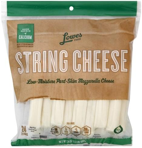 Lowes Part-Skim, Mozzarella, Low-Moisture String Cheese - 24 ea