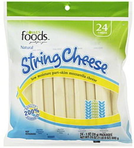 Lowes Foods Low Moisture Part-Skim Mozzarella String Cheese - 24 ea