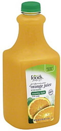Lowes Foods Juice Orange, Premium, Country Style, with Pulp