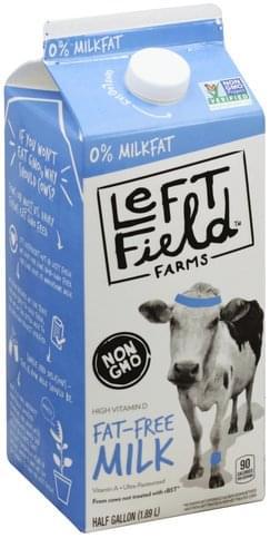 Left Field Farms Fat Free, 0% Milkfat Milk - 0.5 gl