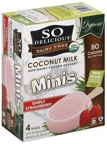 So Delicious Frozen Dessert Non-Dairy, Coconut Milk, Minis, Simply Strawberry