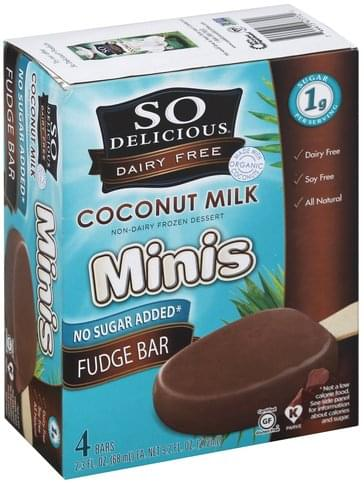 So Delicious Bars, Minis, Coconut Milk, Fudge Bar Non-Dairy Frozen Dessert - 4 ea
