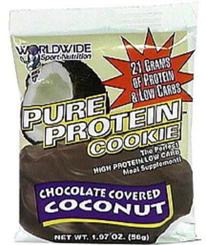 Worldwide Sport Nutrition Pure Protein Cookie, High Protein, Low Carb Meal Supplement, Chocolate Covered Coconut Pure Protein Cookie Meal Supplement - 1.97 oz