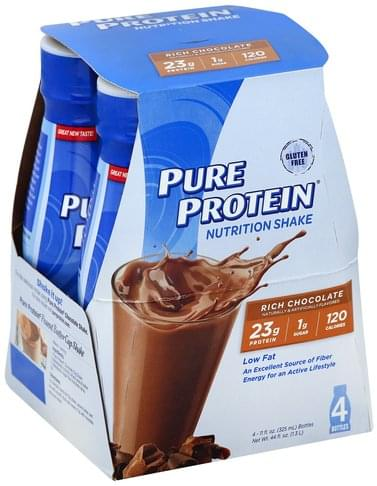 Pure Protein Rich Chocolate Nutrition Shake - 4 ea