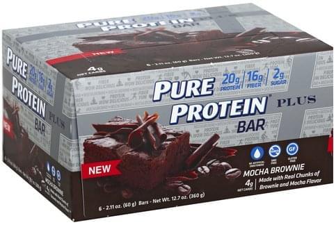 Pure Protein Plus, Mocha Brownie Protein Bar - 6 ea