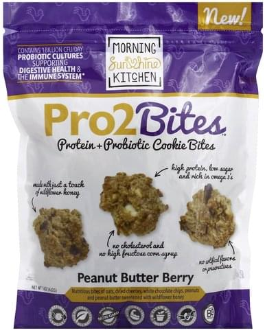 Morning Sunshine Protein + Probiotic, Peanut Buttery Berry Cookie Bites - 16 oz