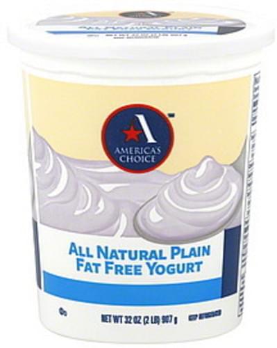 Americas Choice Fat Free, Plain Yogurt - 32 oz
