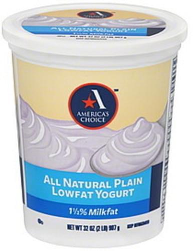 Americas Choice Lowfat, All Natural Plain Yogurt - 32 oz