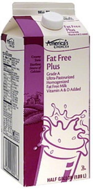 Americas Choice Fat Free Plus Milk - 0.5 gl