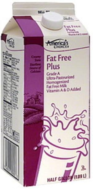 Americas Choice Fat Free Plus Milk - 0.5 gl