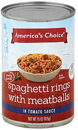 Americas Choice with Meatballs, in Tomato Sauce Spaghetti Rings - 15 oz