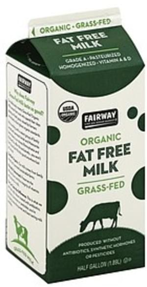 Fairway Fat Free, Organic Milk - 0.5 gl