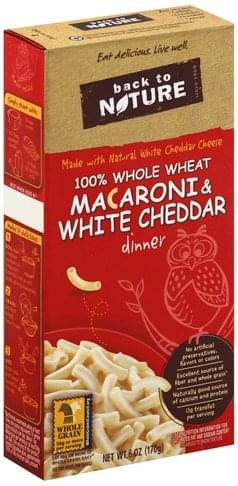 Back to Nature 100% Whole Wheat Macaroni & White Cheddar Dinner - 6 oz