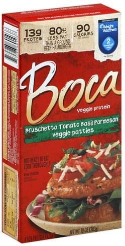 Boca Bruschetta Tomato Basil Parmesan Veggie Patties - 4 ea