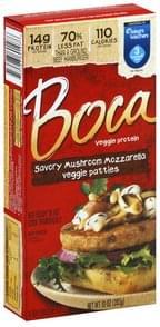 Boca Veggie Patties Savory Mushroom Mozzarella