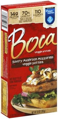 Boca Savory Mushroom Mozzarella Veggie Patties - 4 ea