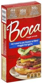 Boca Veggie Burgers All American, Flame Grilled