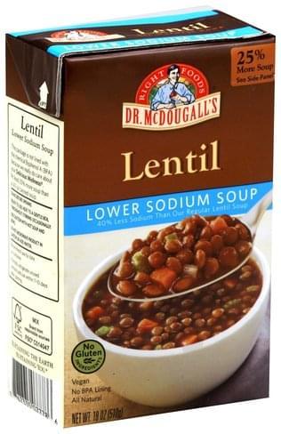 Dr McDougalls Lower Sodium, Lentil Soup - 18 oz