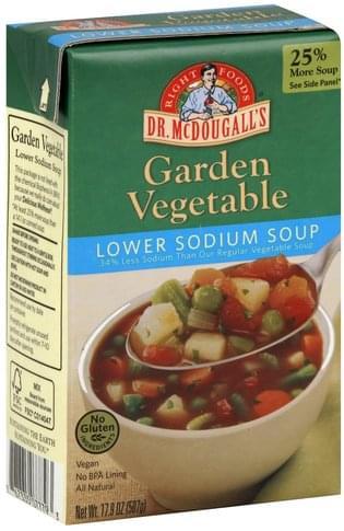 Dr McDougalls Lower Sodium, Garden Vegetable Soup - 17.9 oz