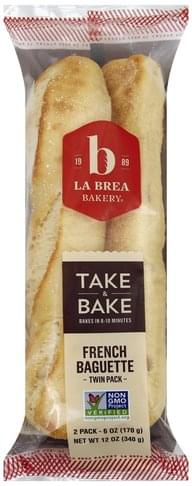 La Brea Bakery French, Twin Pack Baguette - 2 ea