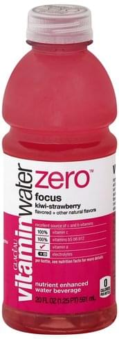 Vitaminwater Nutrient Enhanced, Focus, Kiwi-Strawberry Water Beverage - 20 oz